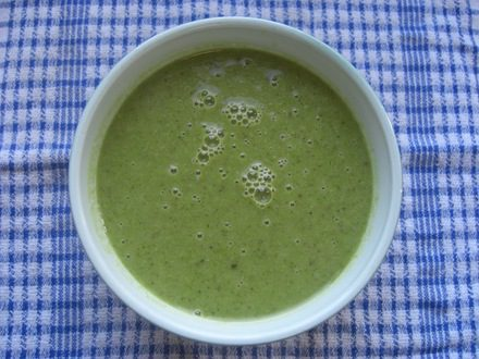 Pea, Broccoli and Pesto Soup