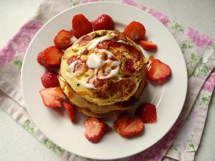 Strawberry and Coconut Grain Free Pancakes