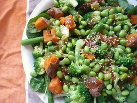 Warm Sweet Sesame, Sweet Potato and Edamame Salad