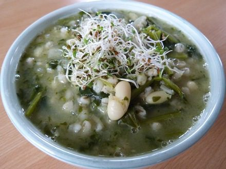 Spinach, Barley and White Bean Soup