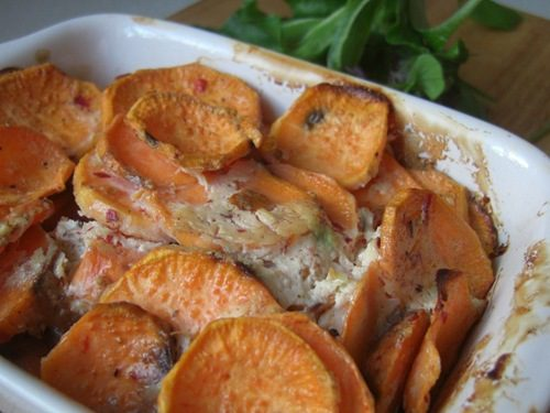 Spicy Sweet Potato and Almond Butter Gratin