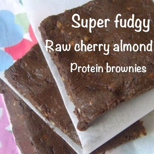 Super Fudgy Raw Cherry Almond Protein Brownies (vegan, GF)