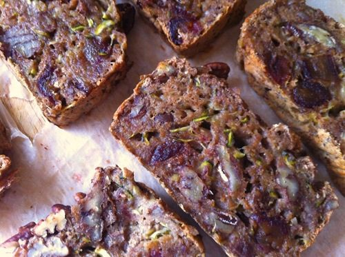 Courgette, date and pecan bread