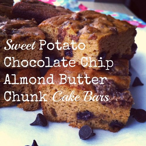 Recipe: Sweet Potato Chocolate Chip Almond Butter Chunk Cake Bars (grain free)