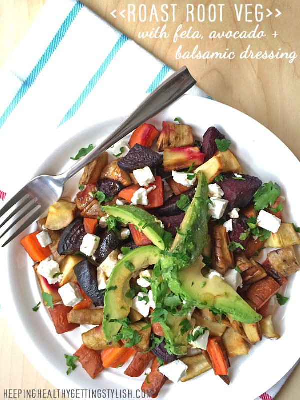 Recipe: Roast root veg with feta, avocado and balsamic dressing