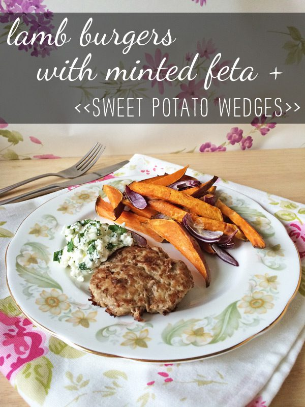 Recipe: Lamb burgers with minted feta + sweet potato wedges