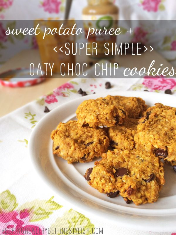 Recipe: sweet potato puree + super simple oaty choc chip cookies