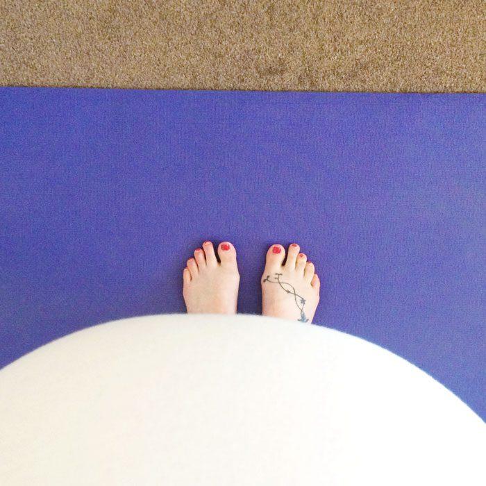 Baby bump yoga mat