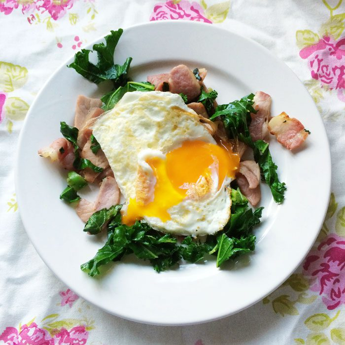 Bacon kale hash with fried egg