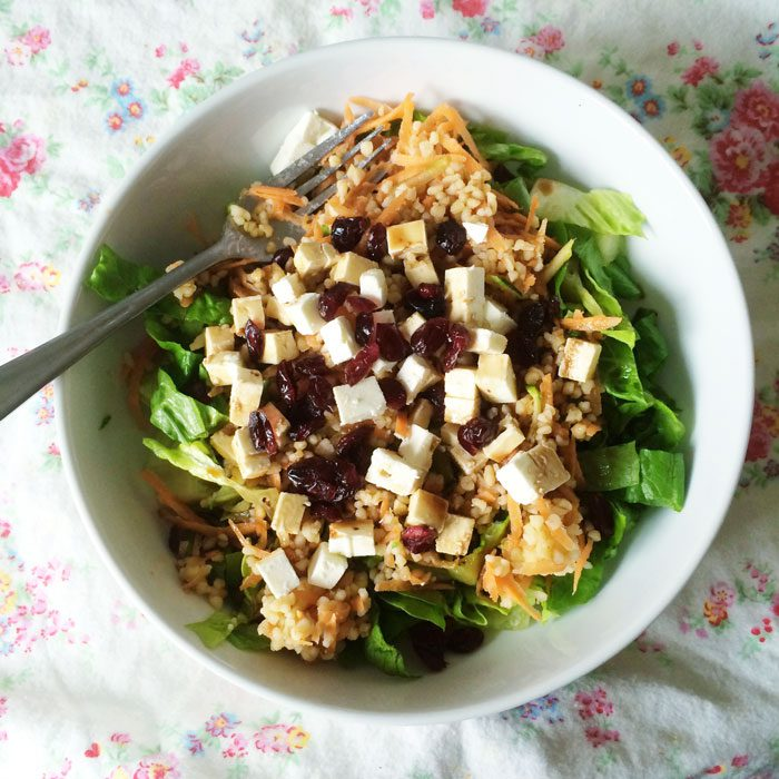 Carrot feta cranberry bulgur wheat salad