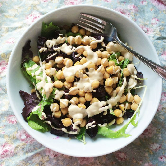 Chickpea salad with tahini dressing