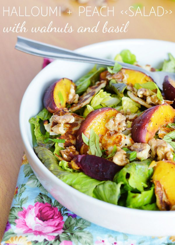Recipe: Halloumi and peach salad with walnuts and basil