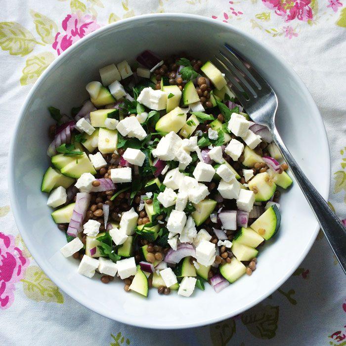 Lentil feta salad