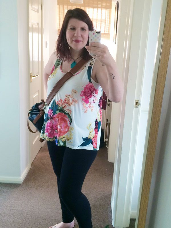 Maternity style floral vest and leggings 2