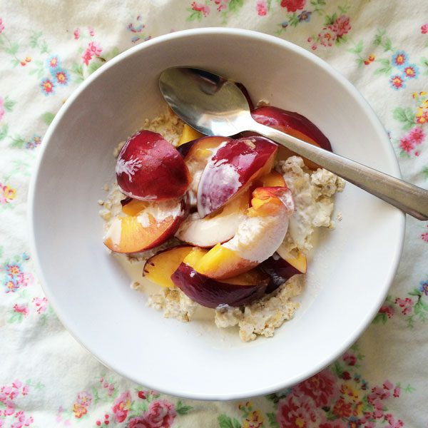 Nectarines oats and cream