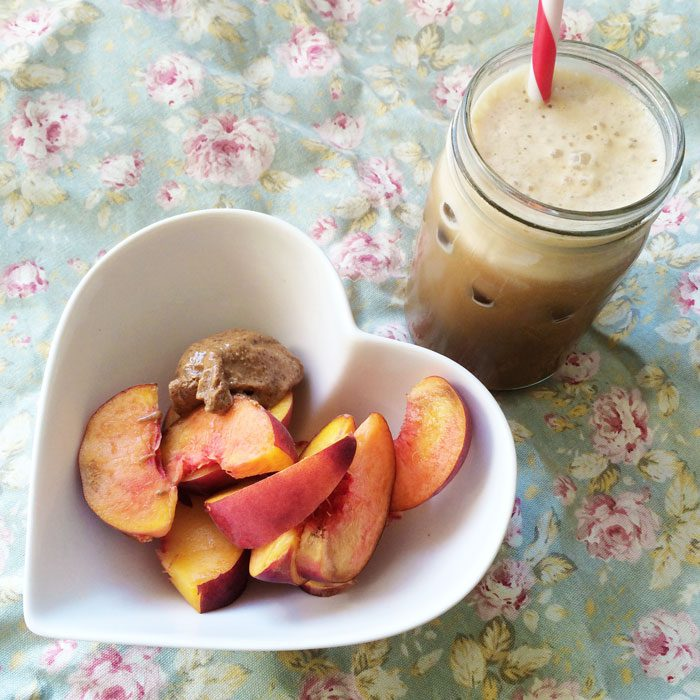 Peaches almond butter iced coffee