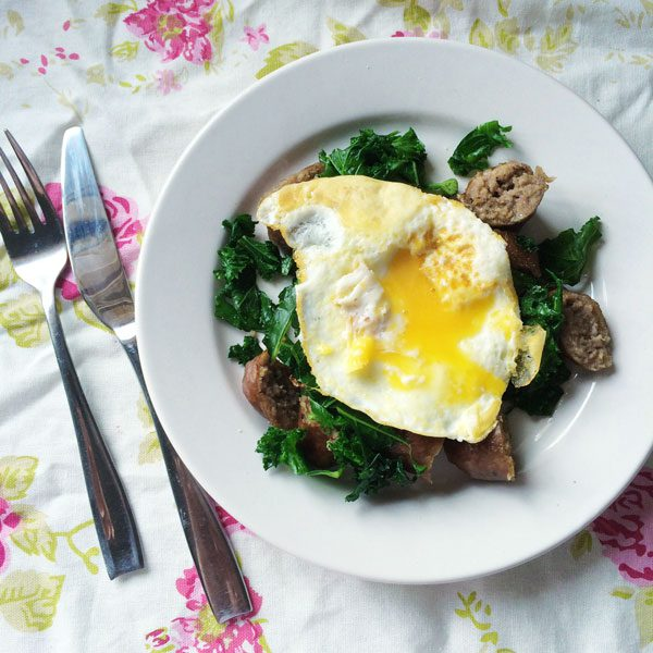 Sausage and kale hash with fried egg