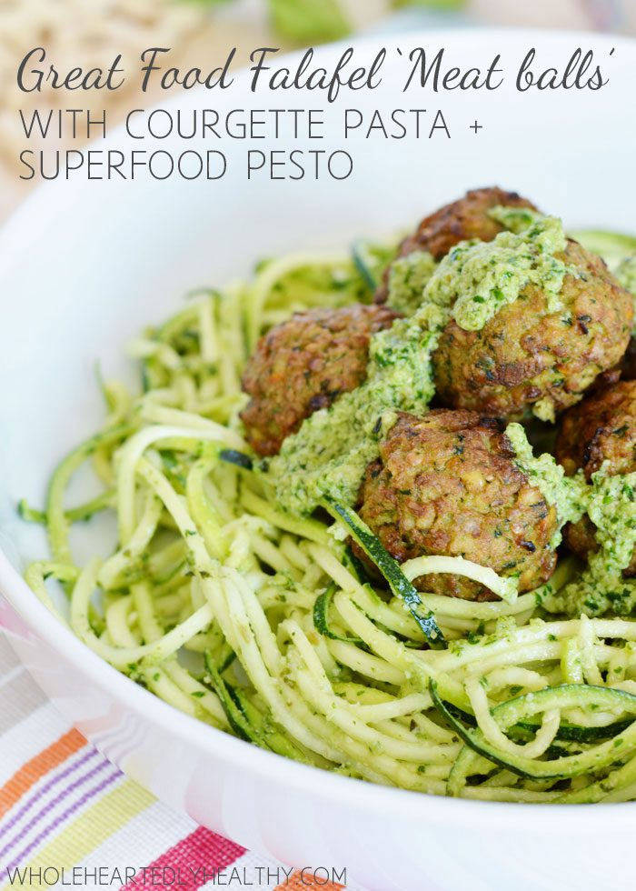 Great Food Falafel Meatballs with Courgette Pasta and Superfood Pesto