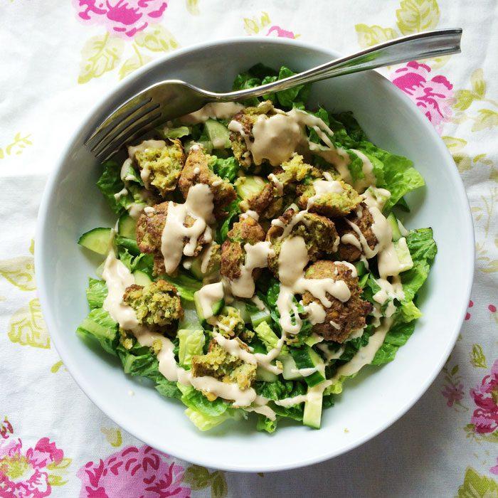 Falafel and tahini salad