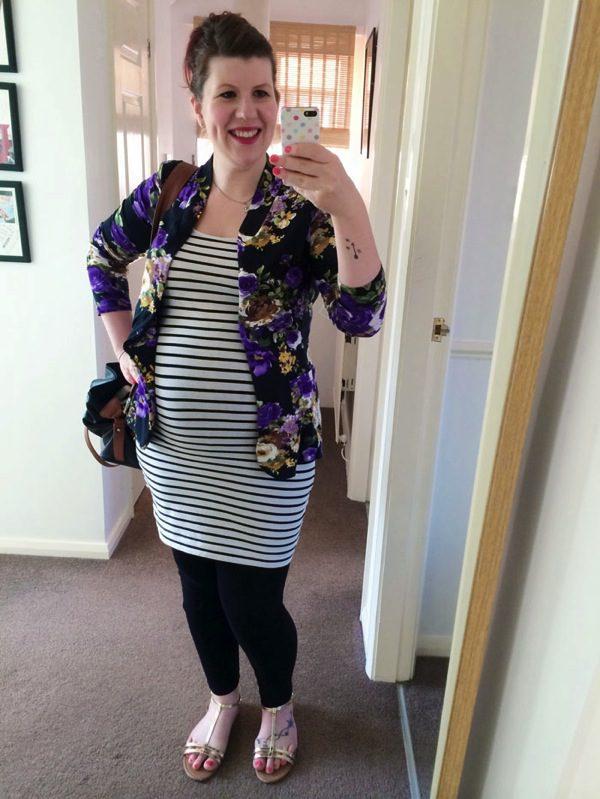 Maternity style stripy dress floral blazer