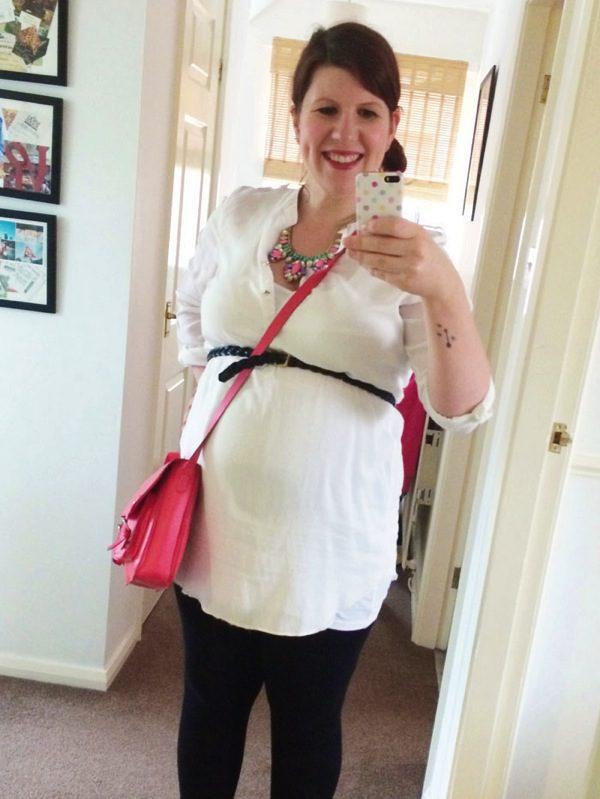 Maternity style white shirt statement necklace