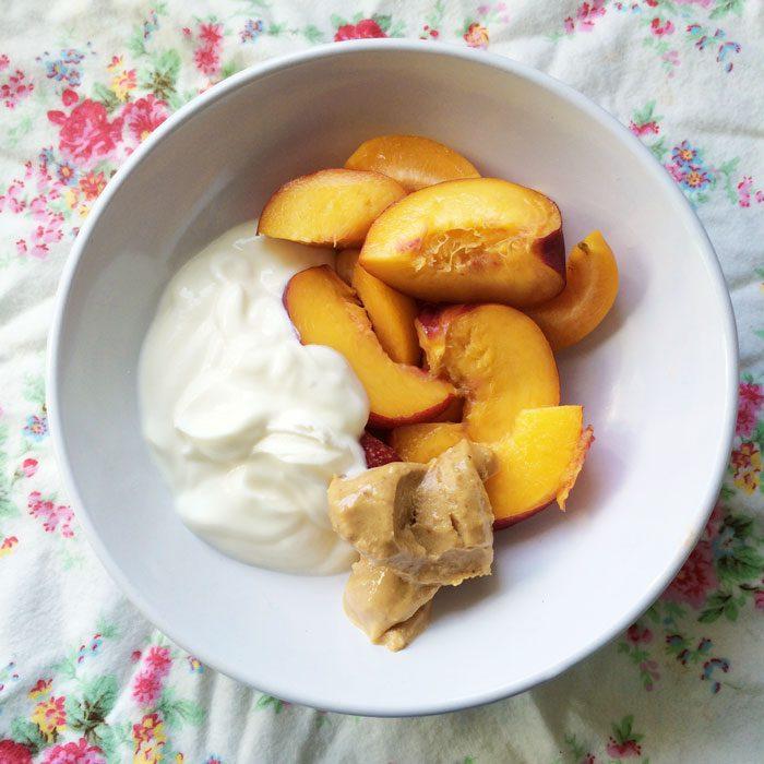 Nectarines yoghurt and whte choc peanut butter