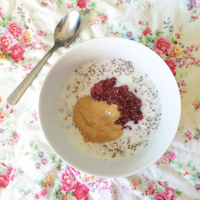 Overnight chia oats with tahini and chia jam