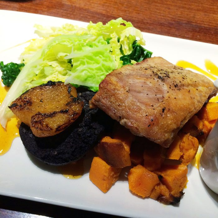 Pork belly with sweet potato and ginger sauce