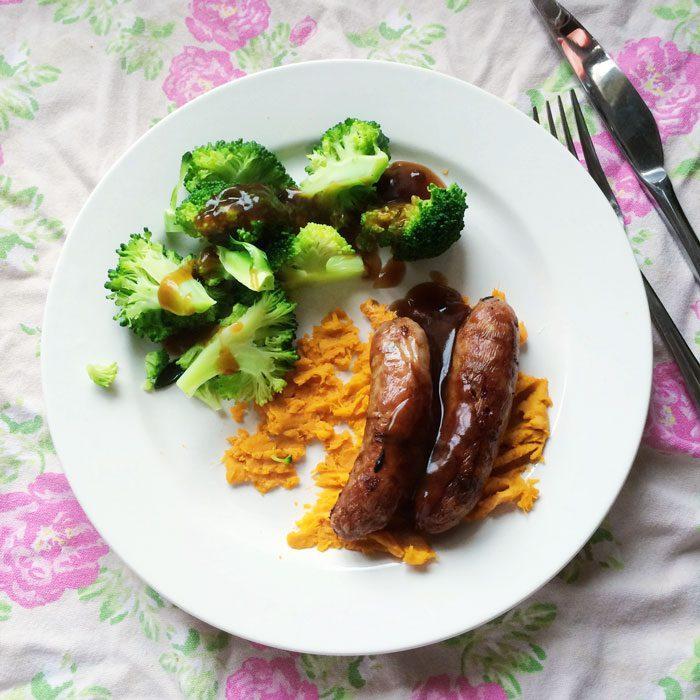 Sausages sweet potato mash broccoli gravy
