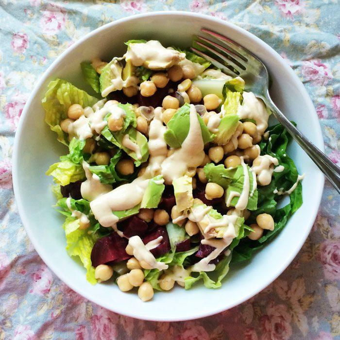 Chickpea beetroot avocado salad with tahini dressing