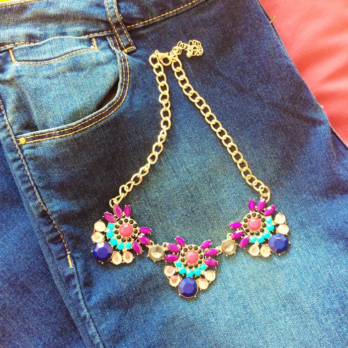 Jeans and statement necklace