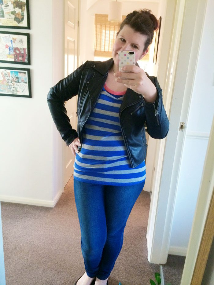 Mamas and papas breastfeeding top and leather jacket
