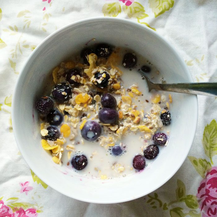 Protein muesli with blueberries