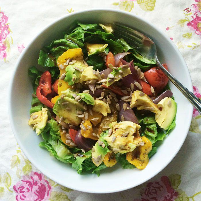 Roast veg and avocado salad