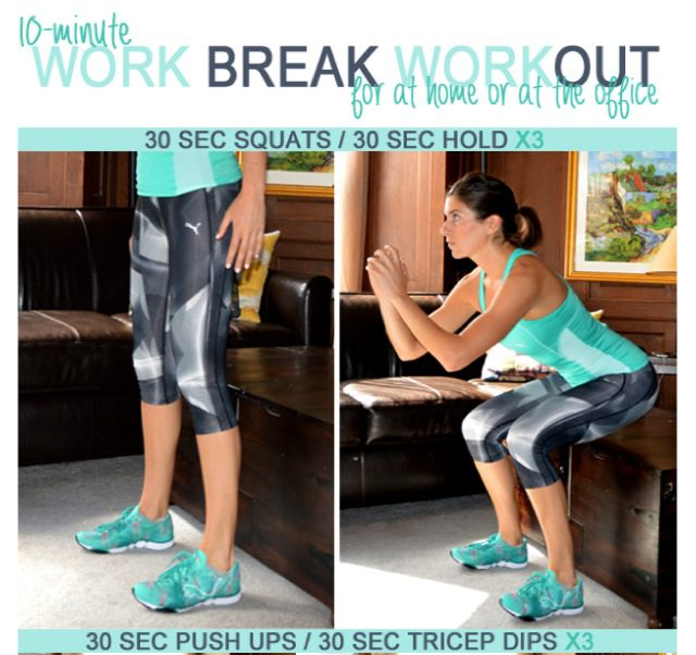 10 Minute Work Break Workout for at Home or the Office
