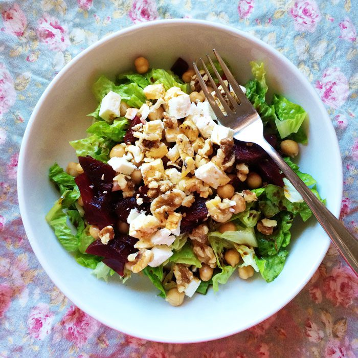 Chickpea feta beet and walnut salad