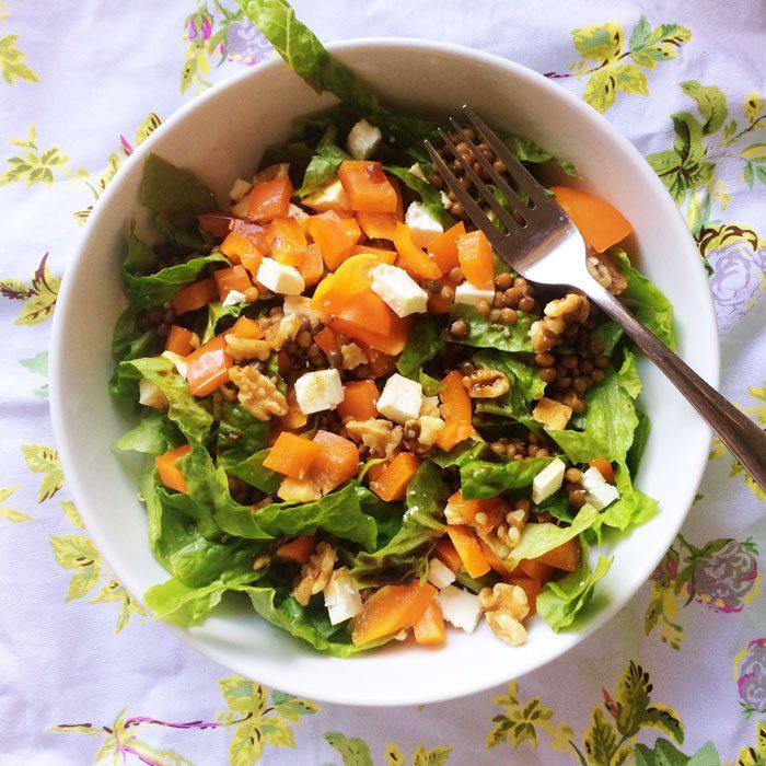 Lentil feta walnut salad