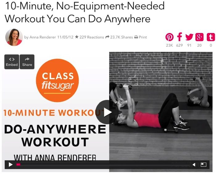 10 Minute No Equipment Home Workout POPSUGAR Fitness