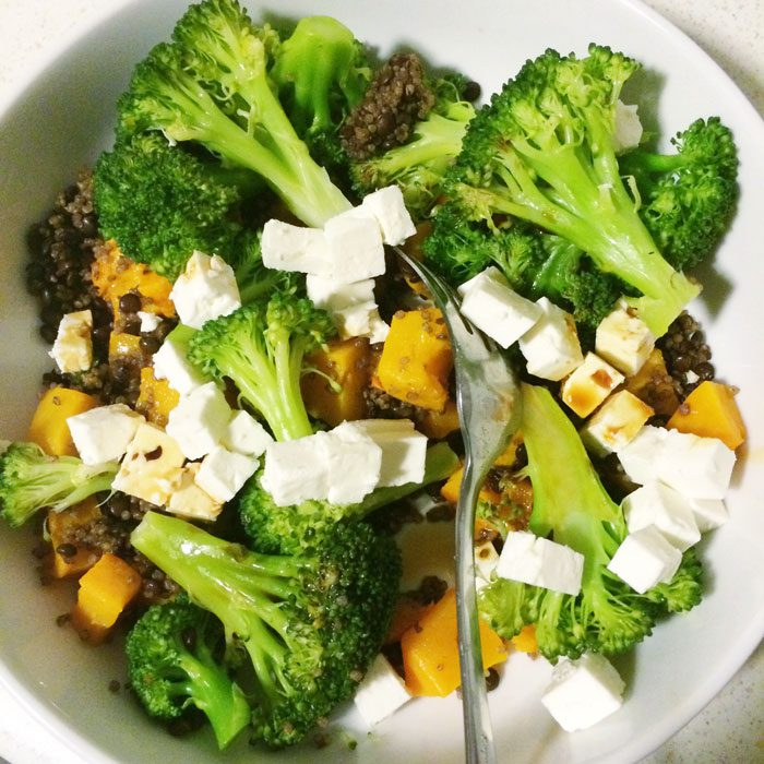 Broccoli roast squash quinoa feta bowl