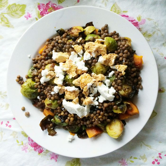 Lentils brussels squash goats cheese