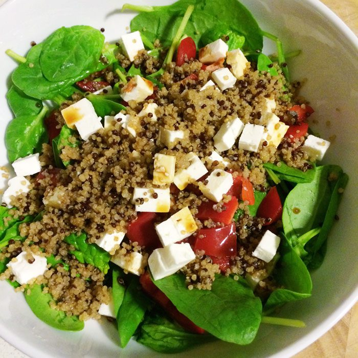 Quinoa feta and pepper salad