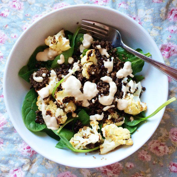 Roast cauliflower and tahini salad