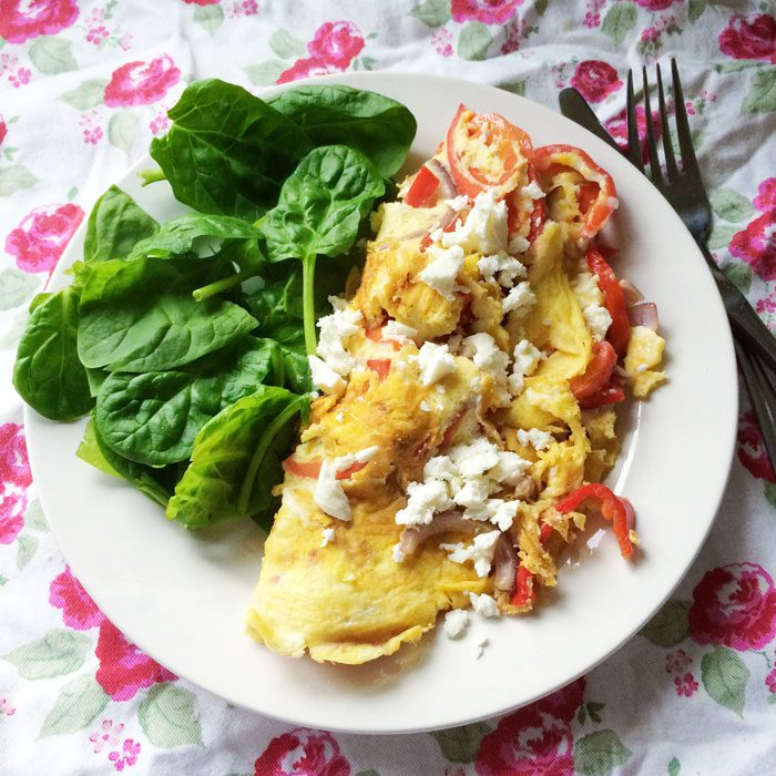 Feta onion and red pepper omelette