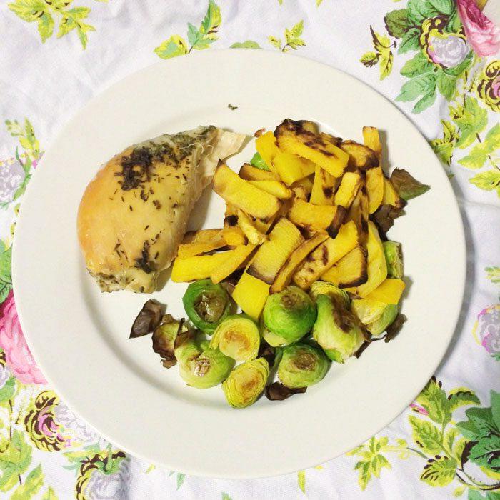 Herb chicken and roast veg