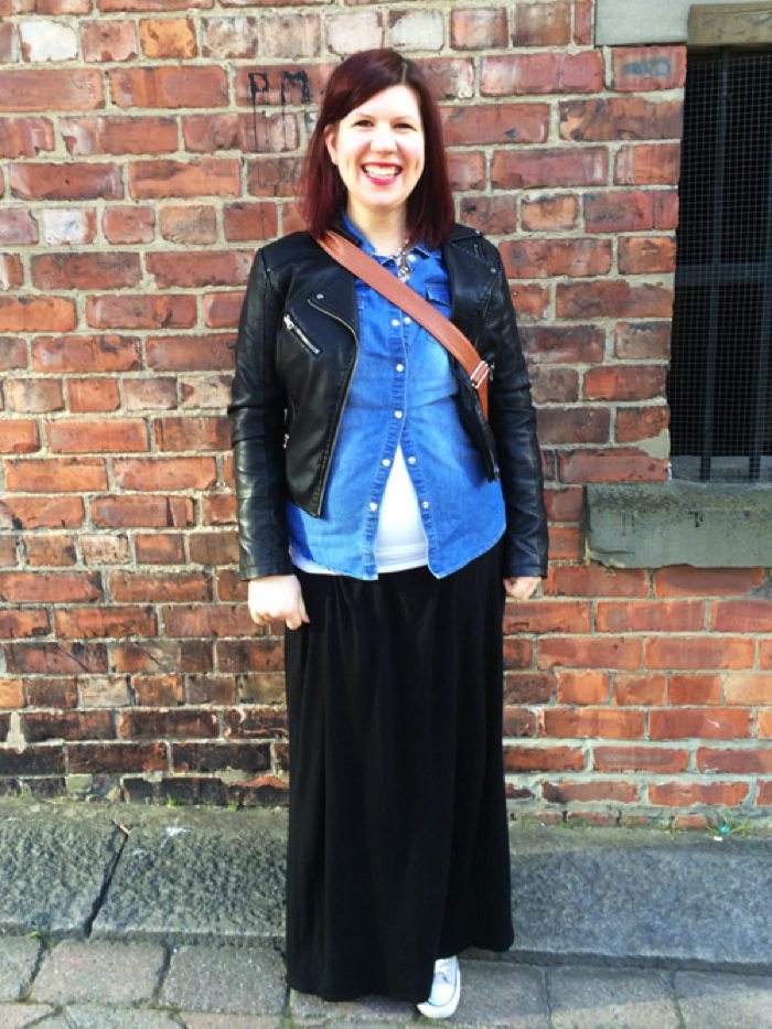 Leather jacket maxi skirt denim shirt