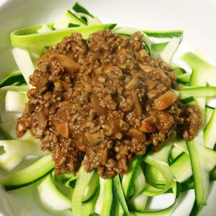 Beef ragu and courgette