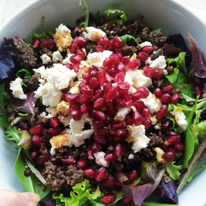 Feta quinoa pomegranate salad
