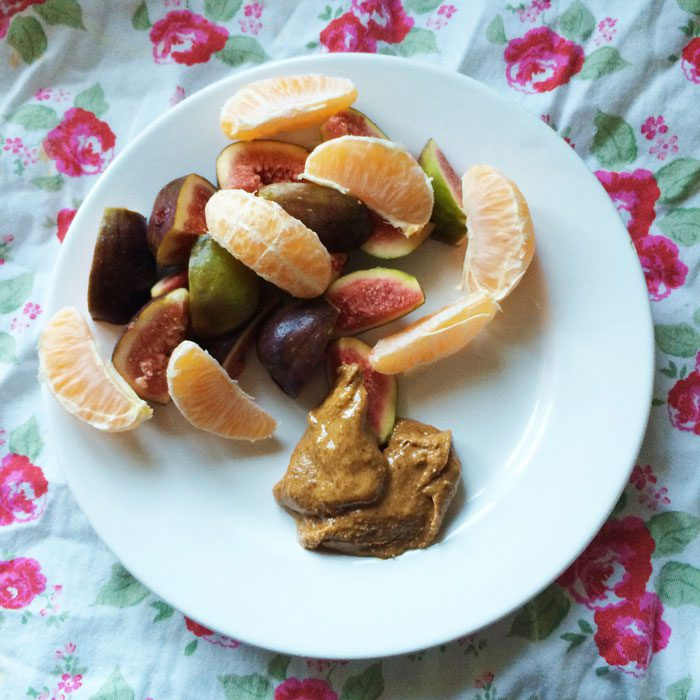 Fig and clemintine with almond butter