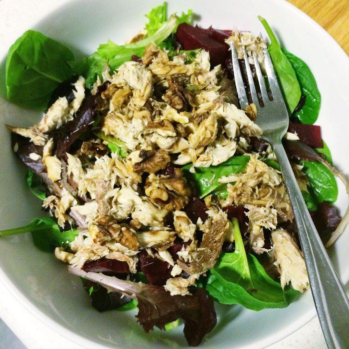 Mackerel salad with beets and walnuts