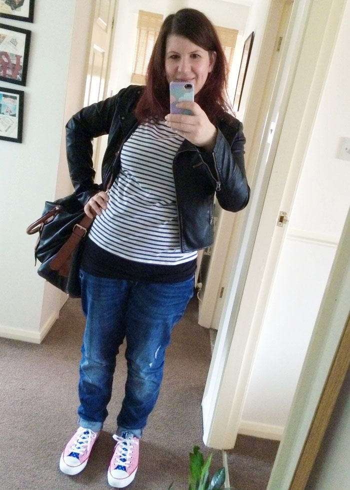 Outfit stripy top and bfjeans